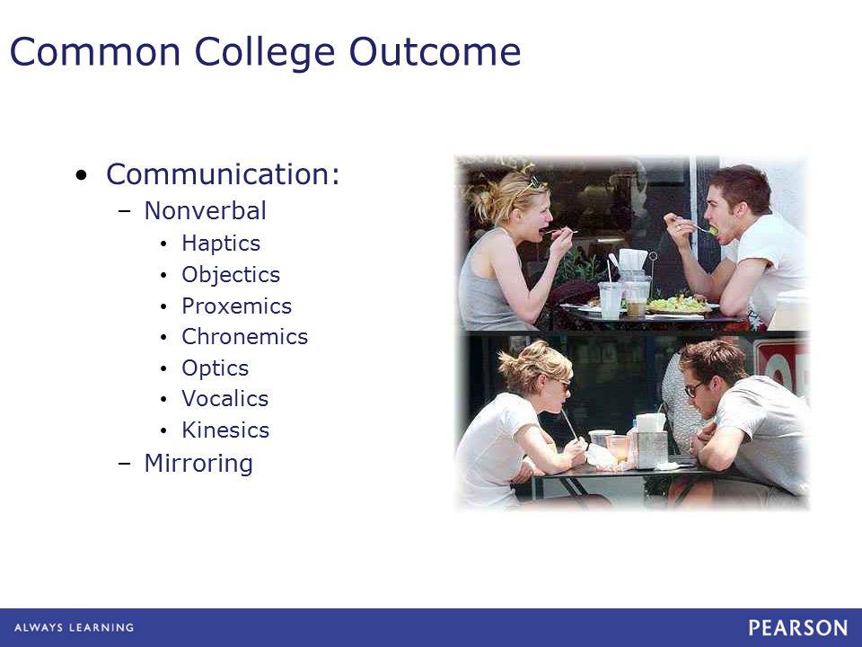 Common College Outcome Communication: –Nonverbal Haptics Objectics Proxemics Chronemics Optics Vocalics Kinesics –Mirroring
