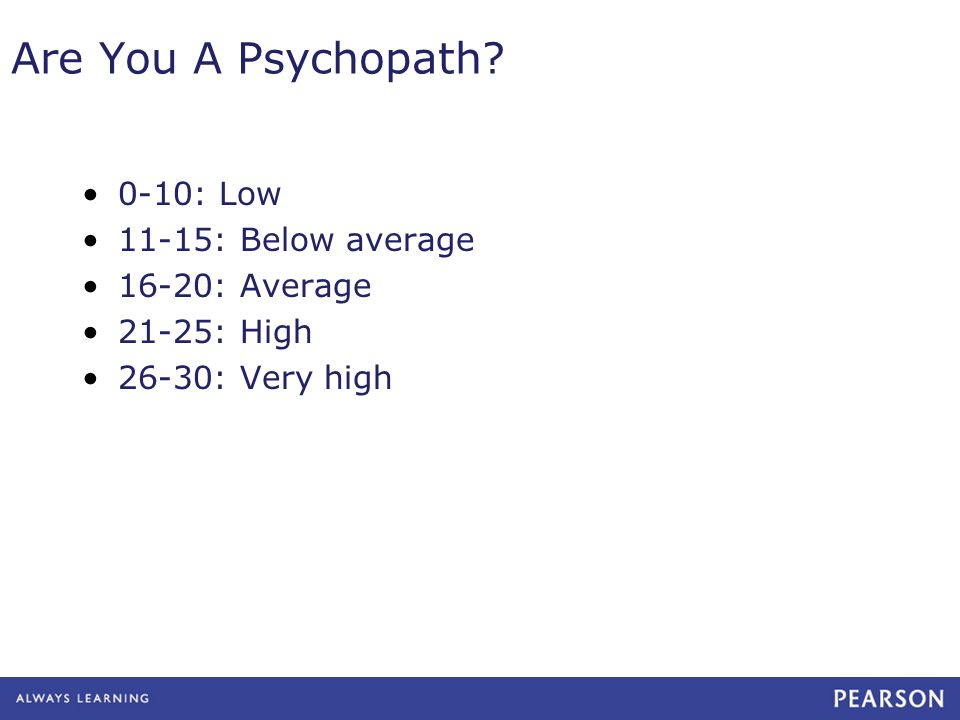 Are You A Psychopath? 0-10: Low 11-15: Below average 16-20: Average 21-25: High 26-30: Very high