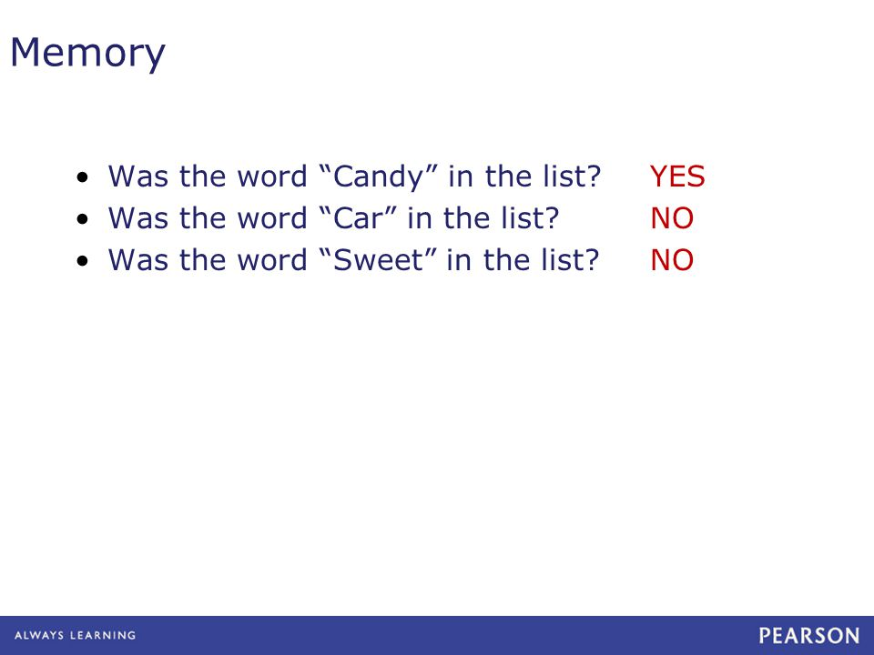 Was the word Candy in the list. Was the word Car in the list.