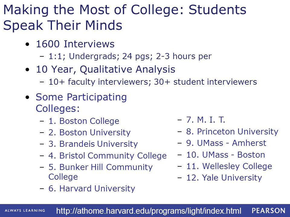 Making the Most of College: Students Speak Their Minds 1600 Interviews –1:1; Undergrads; 24 pgs; 2-3 hours per 10 Year, Qualitative Analysis –10+ faculty interviewers; 30+ student interviewers Some Participating Colleges: –1.