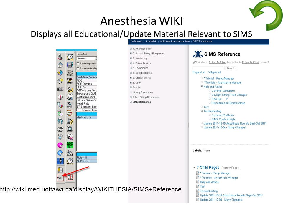 Anesthesia WIKI Displays all Educational/Update Material Relevant to SIMS http://wiki.med.uottawa.ca/display/WIKITHESIA/SIMS+Reference
