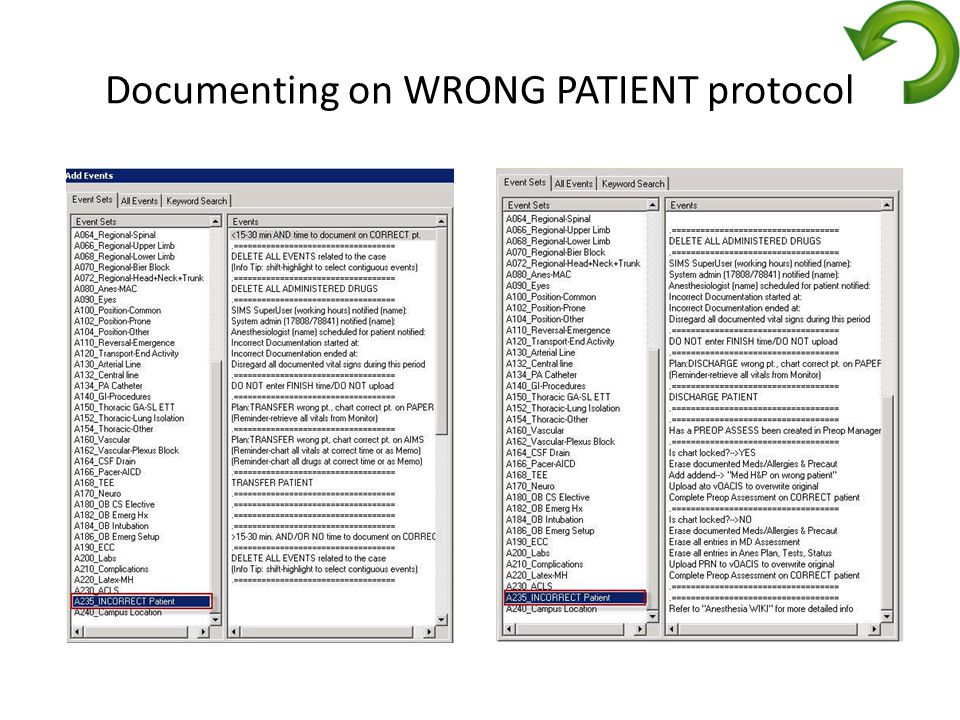 Documenting on WRONG PATIENT protocol