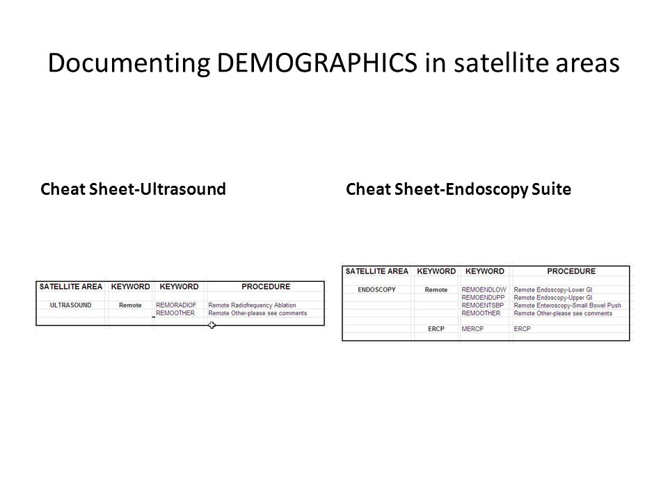 Documenting DEMOGRAPHICS in satellite areas Cheat Sheet-UltrasoundCheat Sheet-Endoscopy Suite