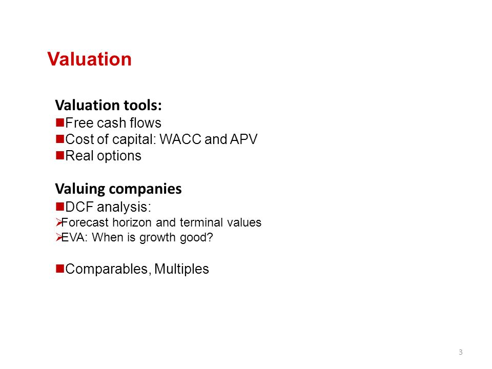 Valuation Valuation tools: Free cash flows Cost of capital: WACC and APV Real options Valuing companies DCF analysis:  Forecast horizon and terminal
