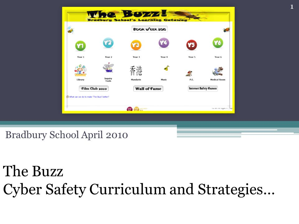 The Buzz Cyber Safety Curriculum and Strategies… Bradbury School April 2010 1