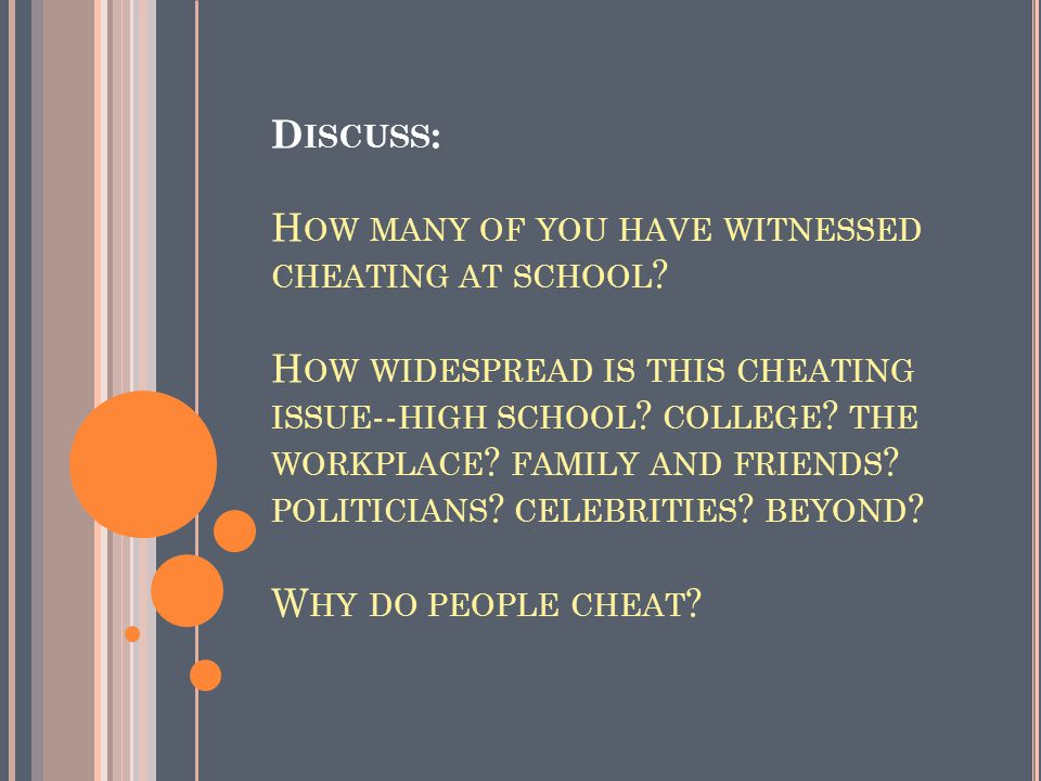 W HAT DO YOU KNOW ABOUT CHEATING AND ACADEMIC INTEGRITY ?