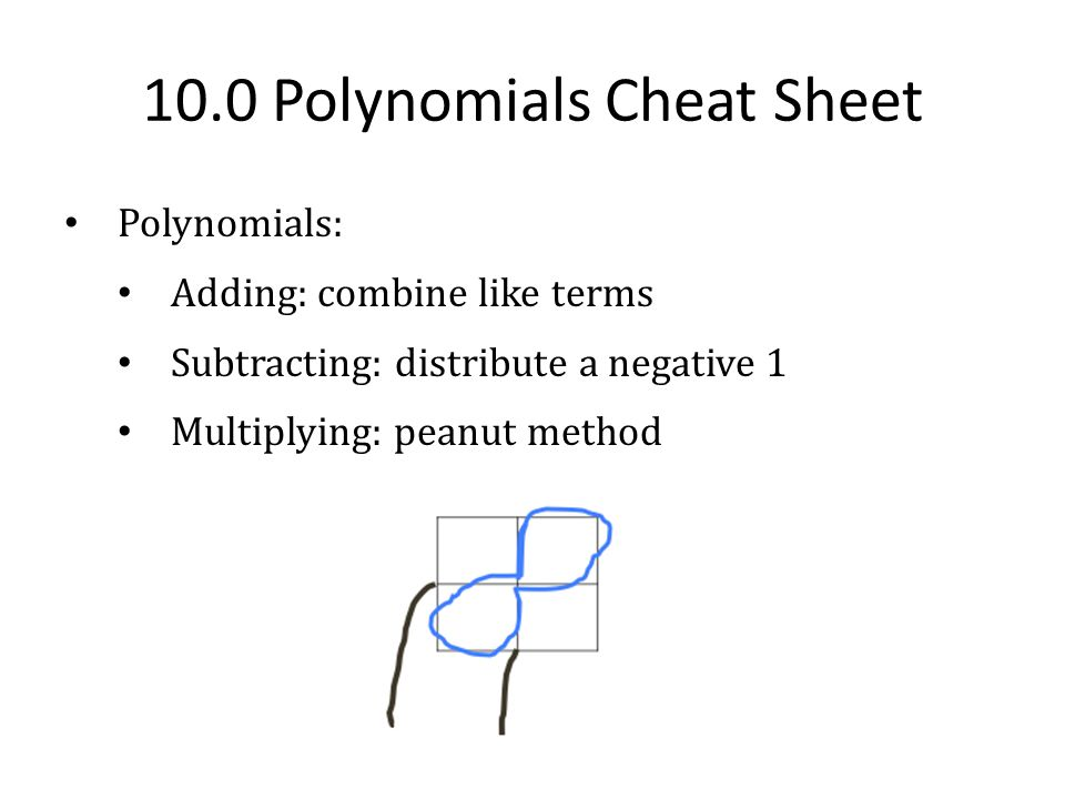 11.0 Factoring Cheat Sheet Methods: 1.GCF: Variable, coefficient, both 2.X – Factor/Factor Booty: 1.Difference of Squares: Even exponent Subtraction Two terms Perfect squares **Use Bottoms Up when a = +1 ( - )( + )