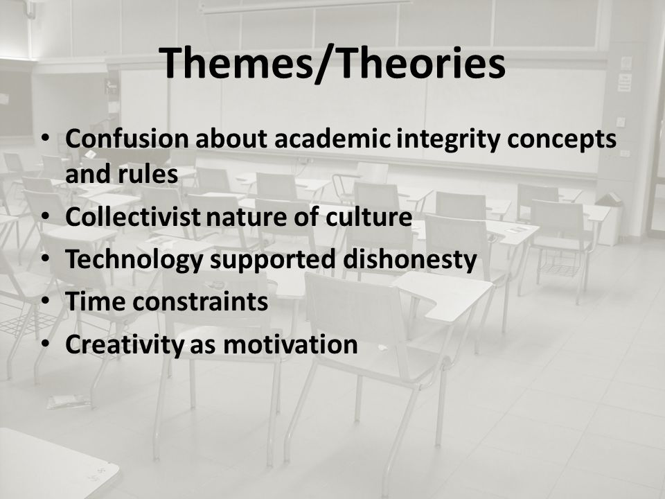 Themes/Theories Confusion about academic integrity concepts and rules Collectivist nature of culture Technology supported dishonesty Time constraints Creativity as motivation