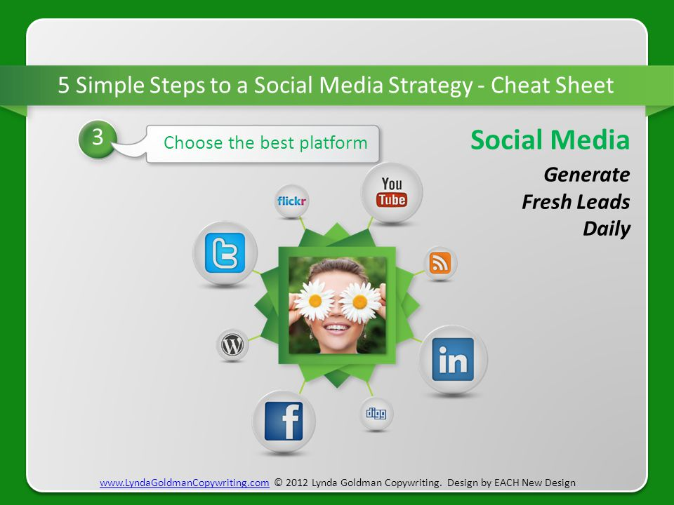 5 Step 5 Simple Steps to a Social Media Strategy - Cheat Sheet 3 Choose the best platform www.LyndaGoldmanCopywriting.comwww.LyndaGoldmanCopywriting.c