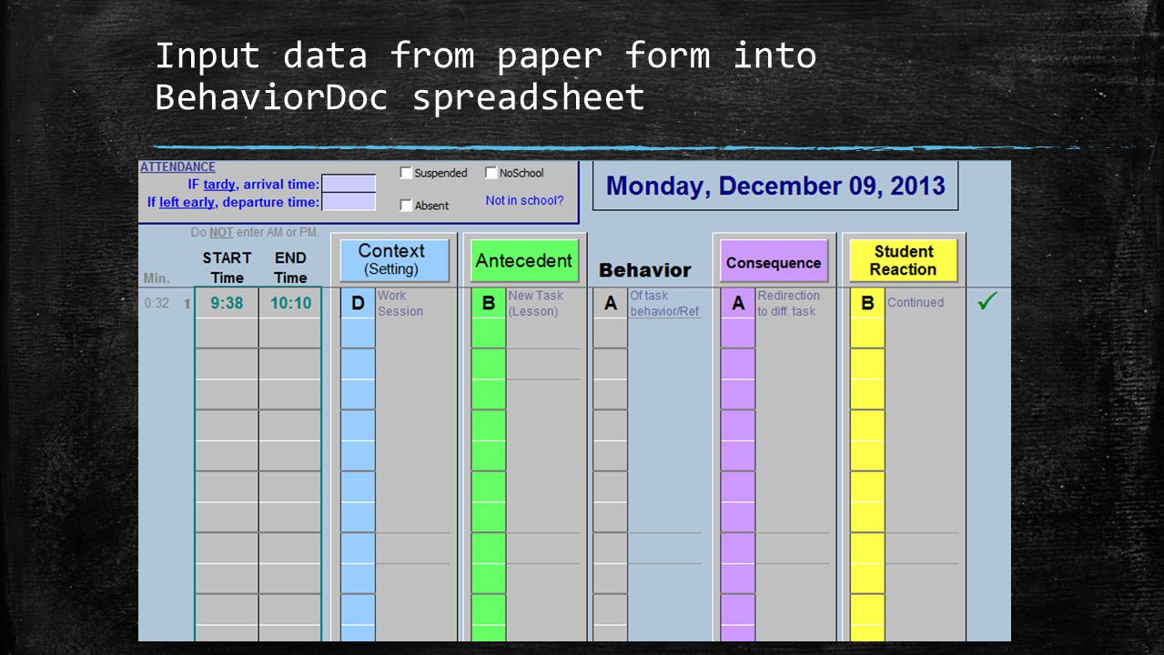 Input data from paper form into BehaviorDoc spreadsheet
