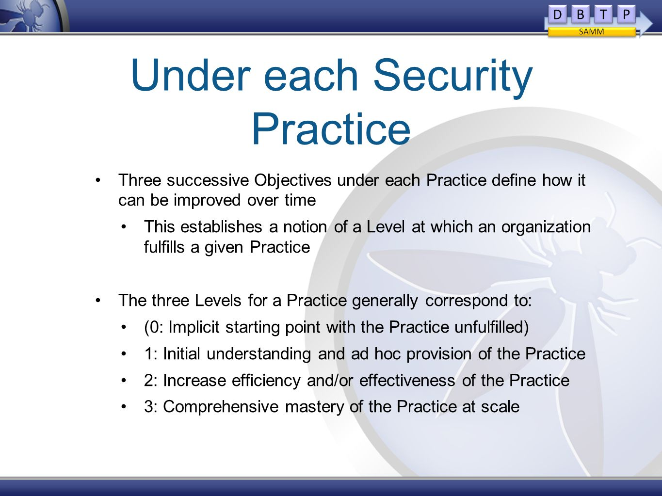 Under each Security Practice Three successive Objectives under each Practice define how it can be improved over time This establishes a notion of a Level at which an organization fulfills a given Practice The three Levels for a Practice generally correspond to: (0: Implicit starting point with the Practice unfulfilled) 1: Initial understanding and ad hoc provision of the Practice 2: Increase efficiency and/or effectiveness of the Practice 3: Comprehensive mastery of the Practice at scale D D B B T T P P SAMM