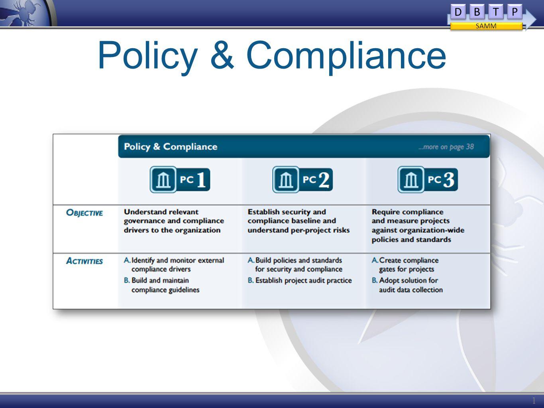 Policy & Compliance 14 D D B B T T P P SAMM