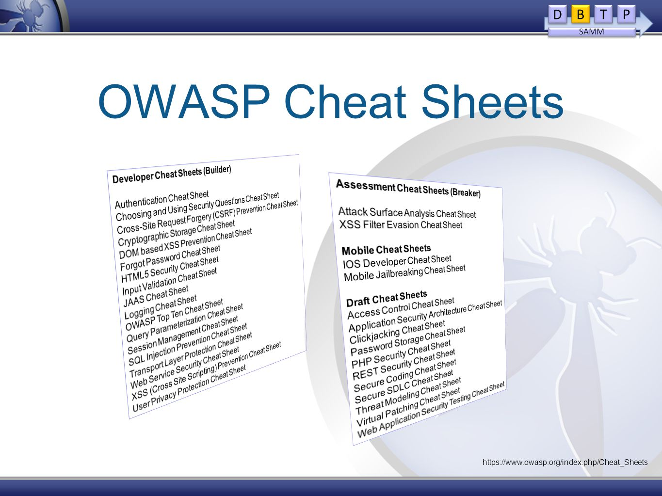 OWASP Cheat Sheets D D B B T T P P SAMM https://www.owasp.org/index.php/Cheat_Sheets