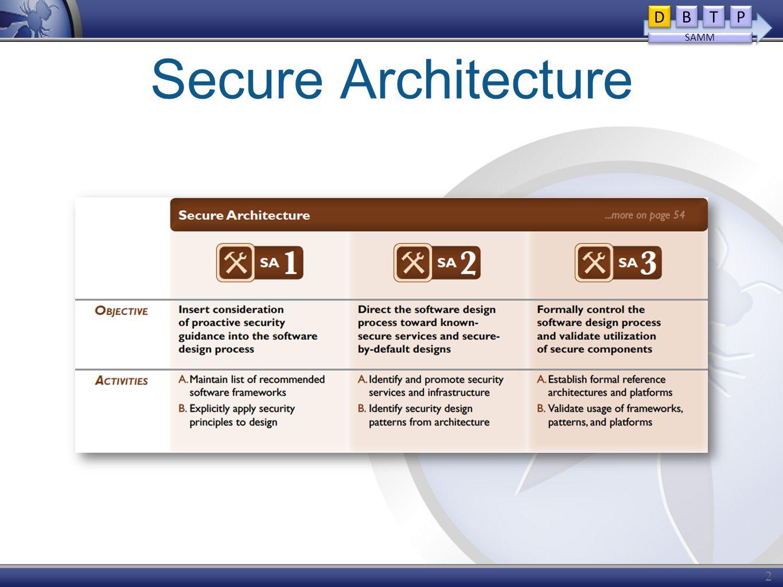 Secure Architecture 21 D D B B T T P P SAMM