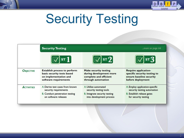 Security Testing 28 D D B B T T P P SAMM