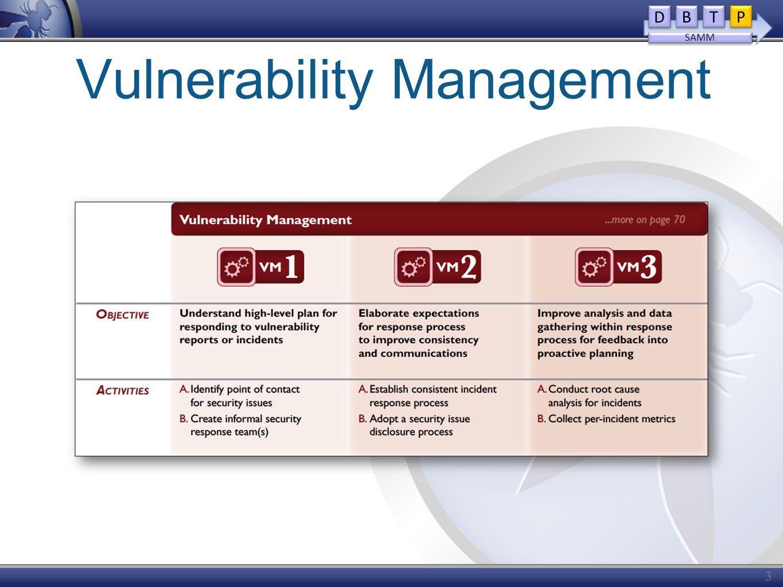 Vulnerability Management 31 D D B B T T P P SAMM