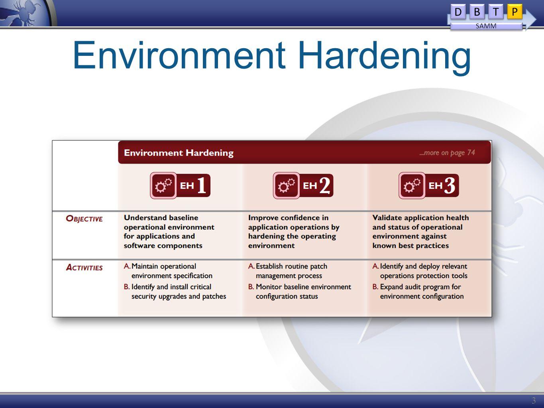 Environment Hardening 32 D D B B T T P P SAMM