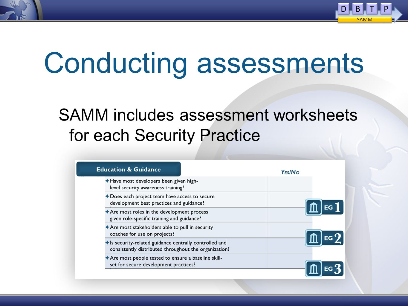 Conducting assessments SAMM includes assessment worksheets for each Security Practice D D B B T T P P SAMM