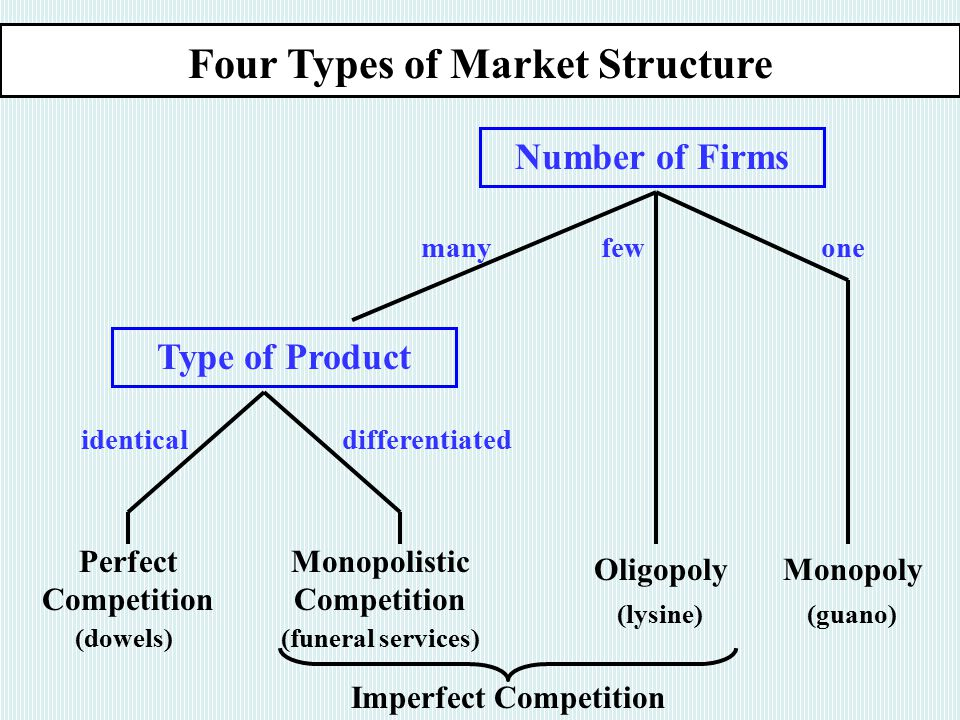 Four Types of Market Structure Number of Firms many few one Type of Product identical differentiated Perfect Competition Monopolistic Competition OligopolyMonopoly (dowels)(funeral services) (lysine)(guano) Imperfect Competition