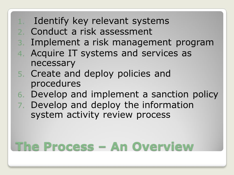 The Process – An Overview 1. Identify key relevant systems 2.