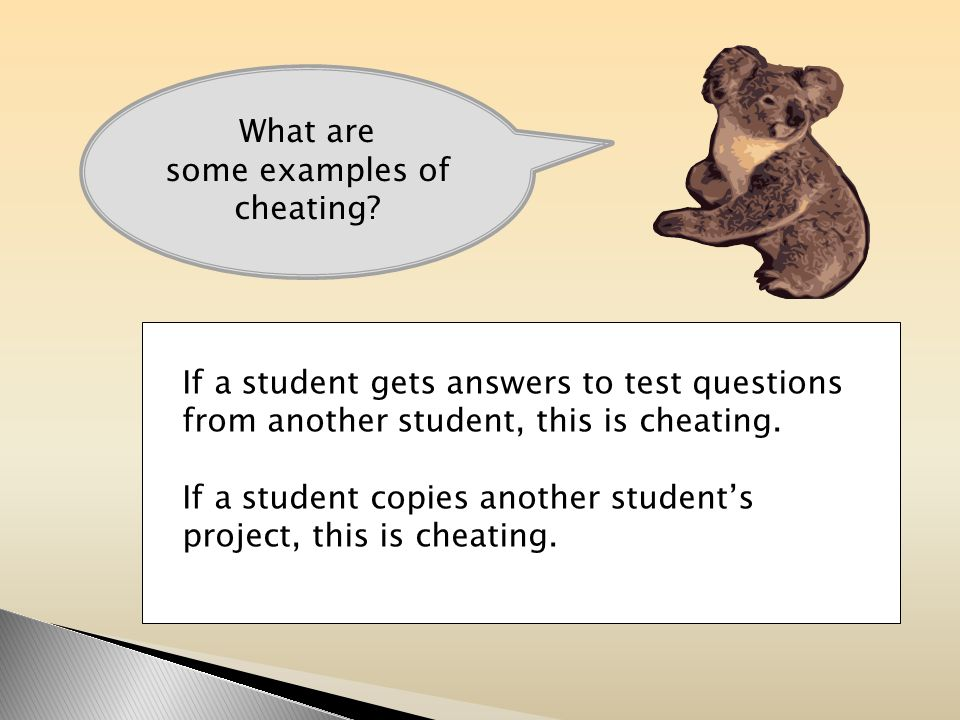 What are some examples of cheating.