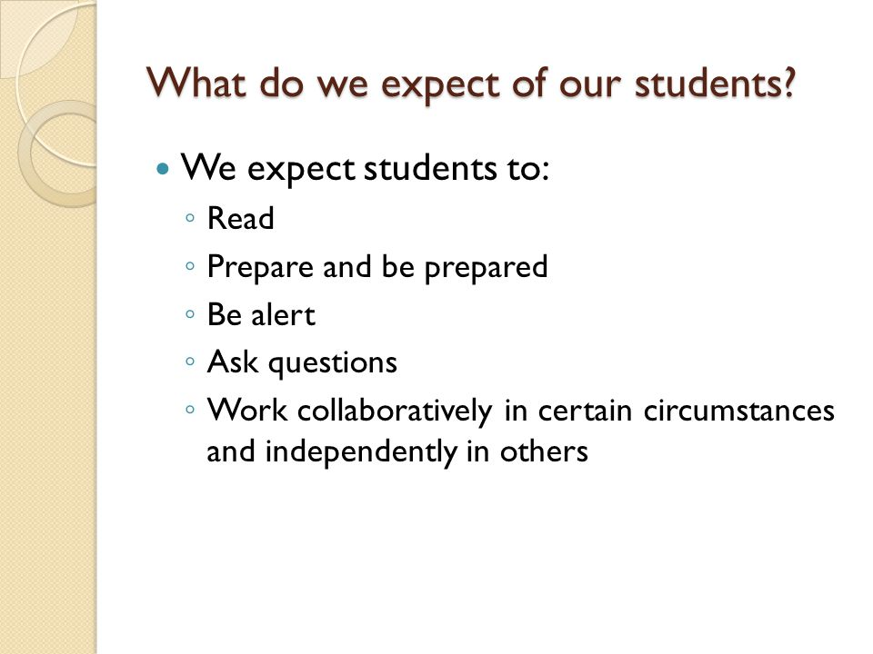 What do we expect of our students.