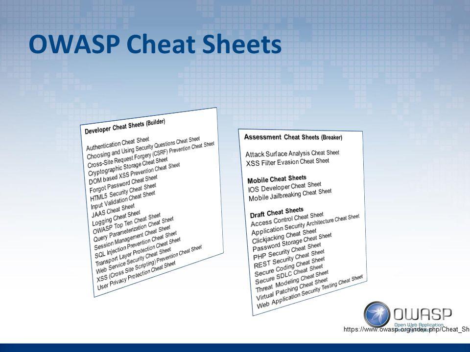 OWASP Cheat Sheets https://www.owasp.org/index.php/Cheat_Sheets