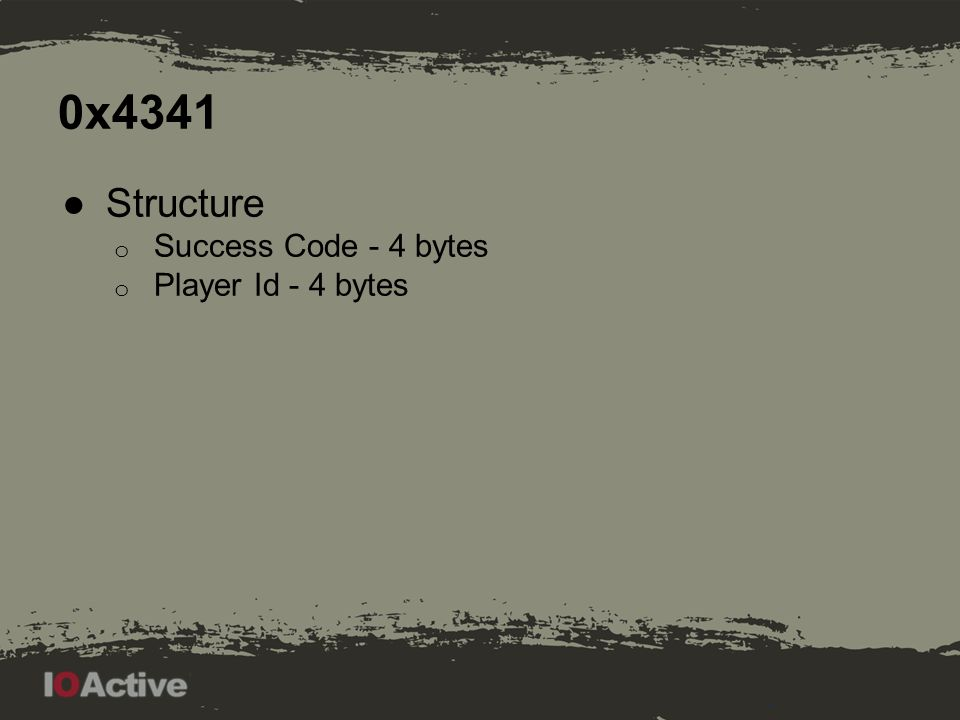 0x4341 ●Structure o Success Code - 4 bytes o Player Id - 4 bytes