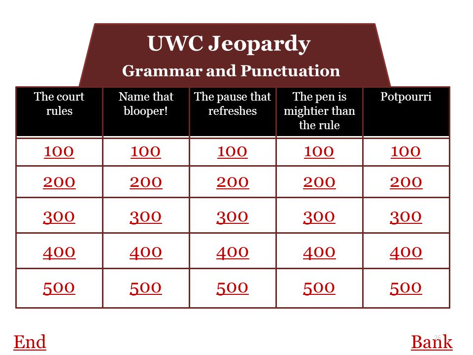 UWC Jeopardy Grammar and Punctuation The court rules Name that blooper.