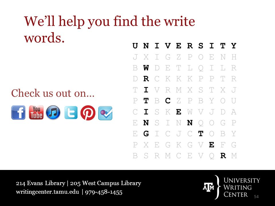214 Evans Library | 205 West Campus Library writingcenter.tamu.edu | 979-458-1455 We'll help you find the write words.