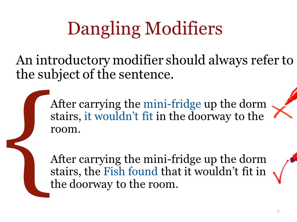 { Dangling Modifiers An introductory modifier should always refer to the subject of the sentence.