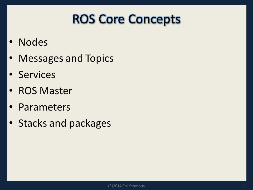 Nodes Messages and Topics Services ROS Master Parameters Stacks and packages 11(C)2014 Roi Yehoshua