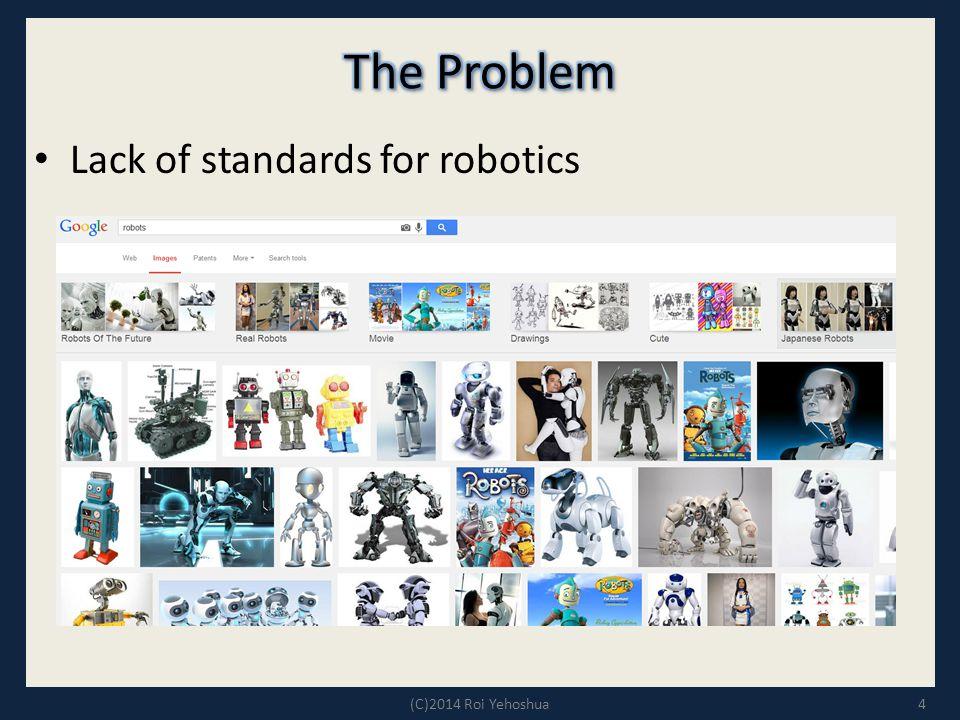 4 Lack of standards for robotics (C)2014 Roi Yehoshua