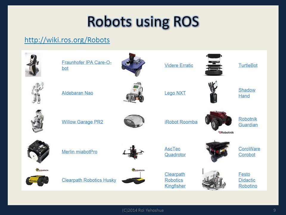9 http://wiki.ros.org/Robots (C)2014 Roi Yehoshua