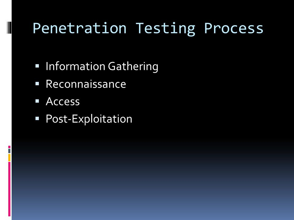 Penetration Testing Process  Information Gathering  Reconnaissance  Access  Post-Exploitation