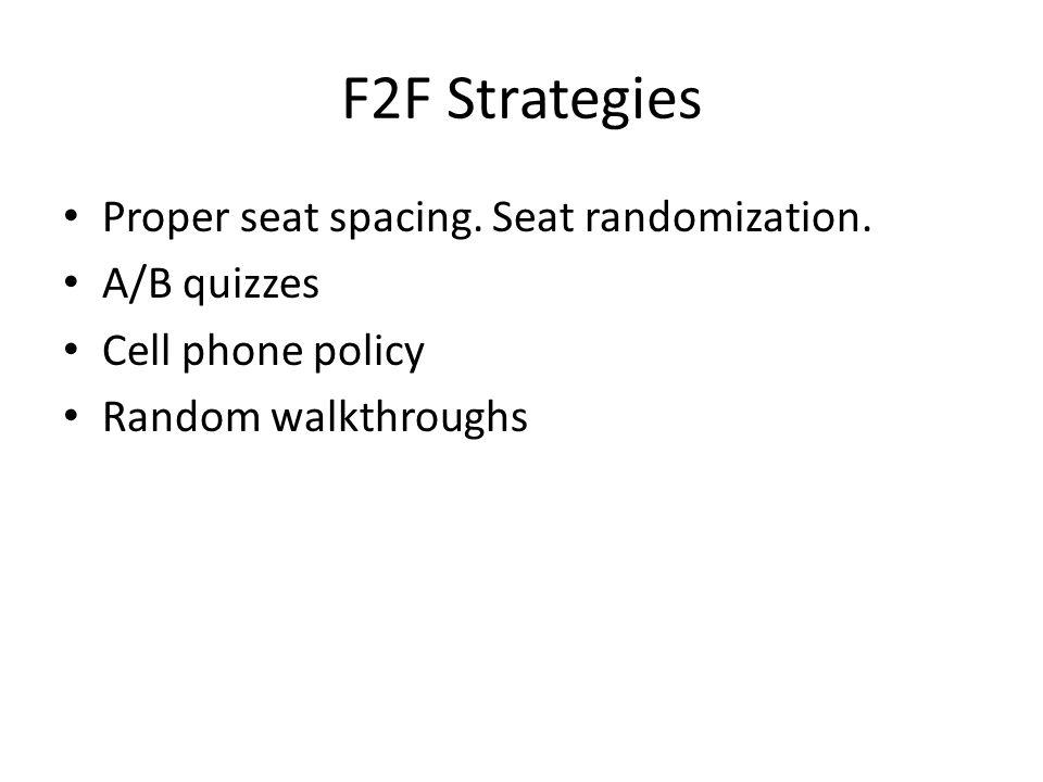 F2F Strategies Proper seat spacing. Seat randomization. A/B quizzes Cell phone policy Random walkthroughs