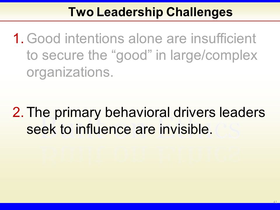 Two Leadership Challenges 1.Good intentions alone are insufficient to secure the good in large/complex organizations.