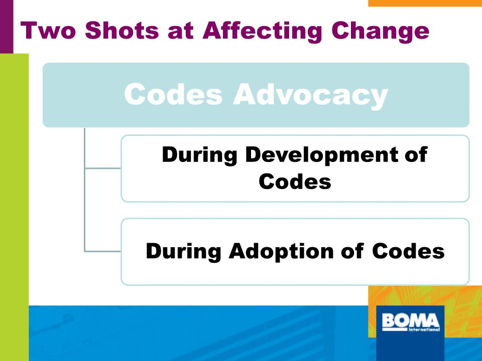 Two Shots at Affecting Change Codes Advocacy During Development of Codes During Adoption of Codes