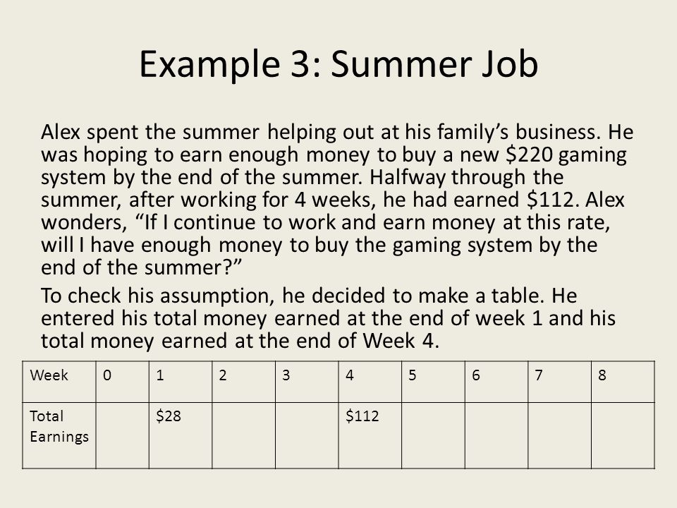 Example 3: Summer Job Alex spent the summer helping out at his family's business. He was hoping to earn enough money to buy a new $220 gaming system b