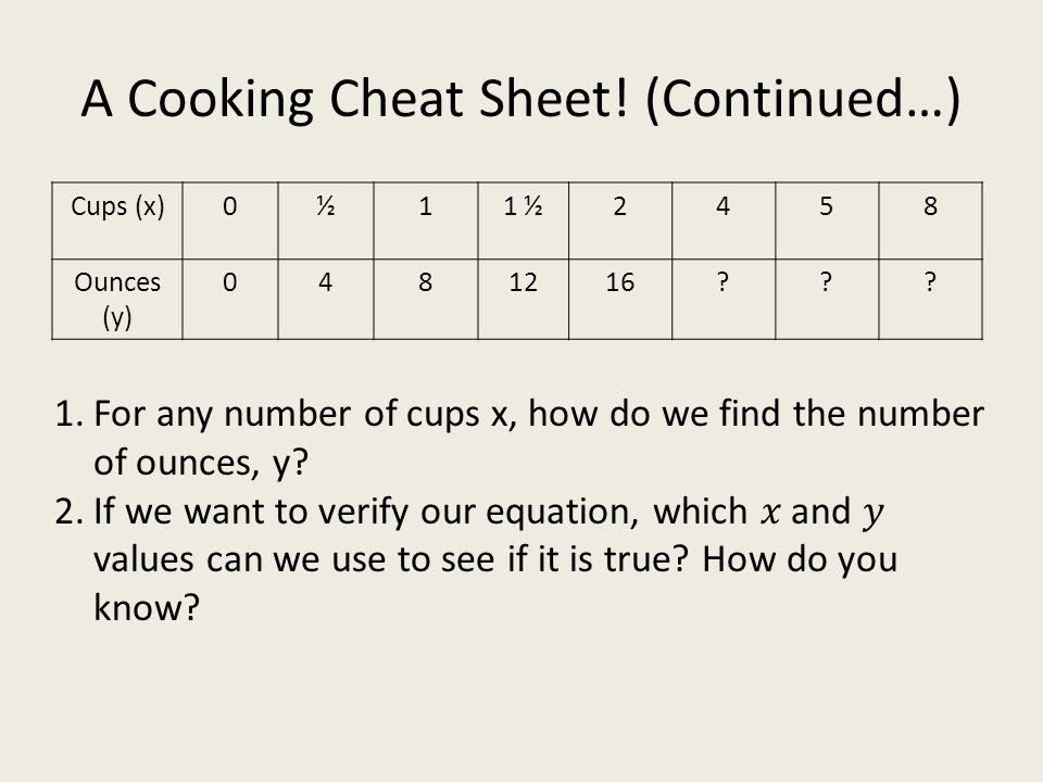 A Cooking Cheat Sheet! (Continued…) Cups (x)0½11 ½2458 Ounces (y) 0481216??? 1.For any number of cups x, how do we find the number of ounces, y? 2.If