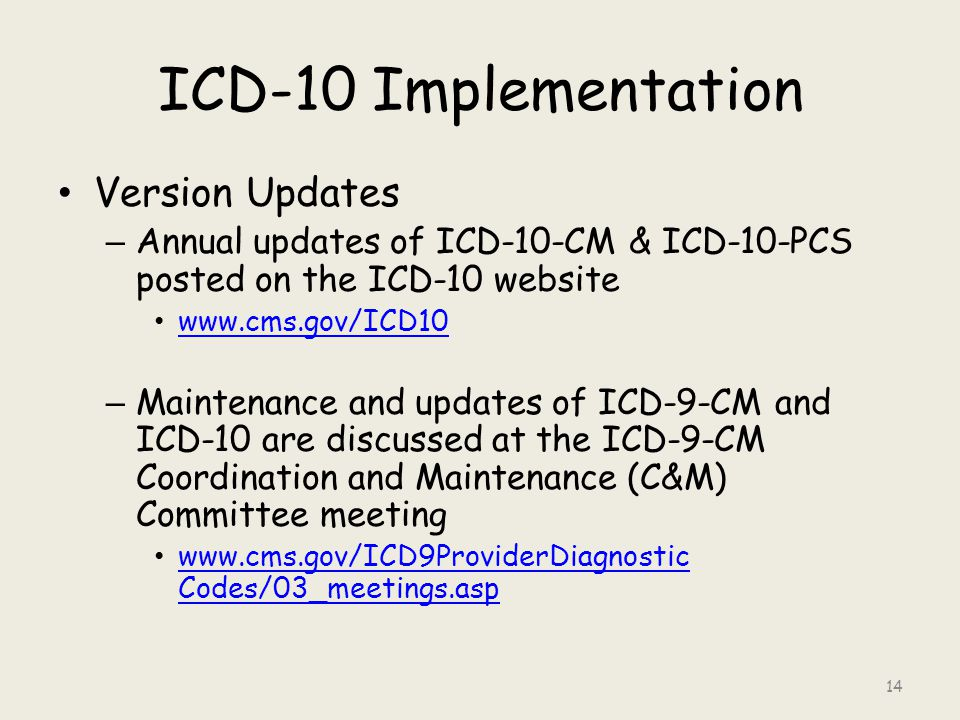 ICD-10 Implementation Version Updates – Annual updates of ICD-10-CM & ICD-10-PCS posted on the ICD-10 website www.cms.gov/ICD10 – Maintenance and updates of ICD-9-CM and ICD-10 are discussed at the ICD-9-CM Coordination and Maintenance (C&M) Committee meeting www.cms.gov/ICD9ProviderDiagnostic Codes/03_meetings.asp www.cms.gov/ICD9ProviderDiagnostic Codes/03_meetings.asp 14