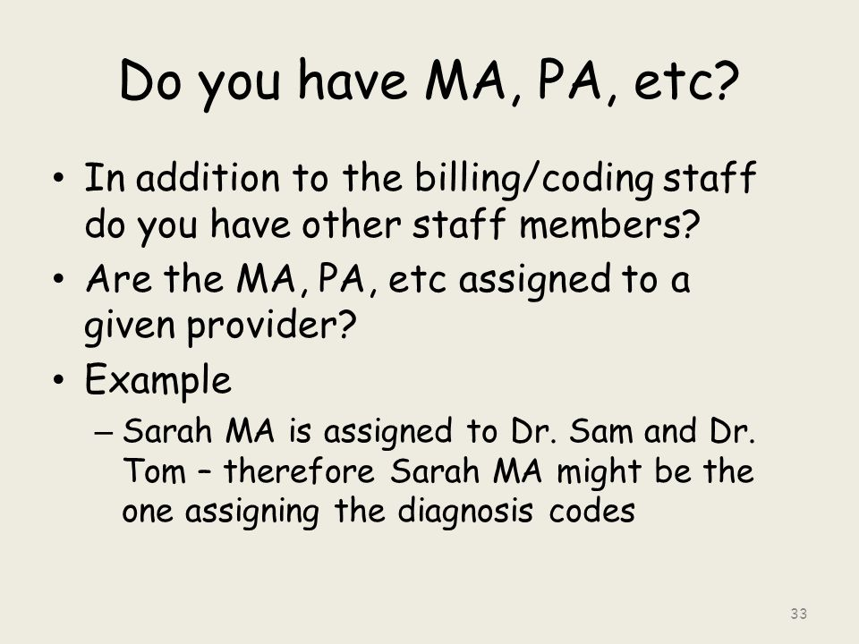 Do you have MA, PA, etc. In addition to the billing/coding staff do you have other staff members.