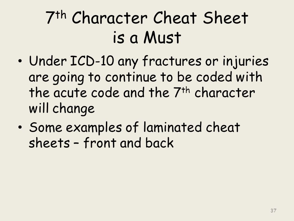 7 th Character Cheat Sheet is a Must Under ICD-10 any fractures or injuries are going to continue to be coded with the acute code and the 7 th character will change Some examples of laminated cheat sheets – front and back 37