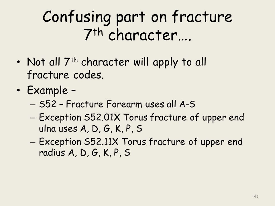 Confusing part on fracture 7 th character….