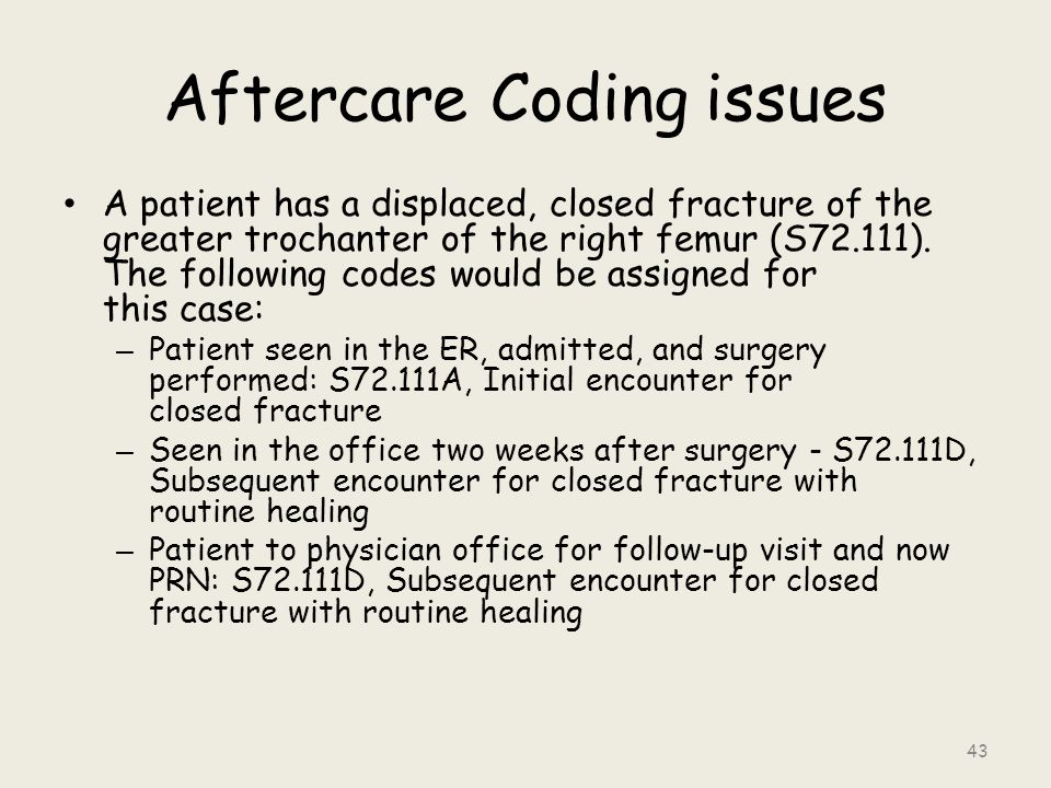 Aftercare Coding issues A patient has a displaced, closed fracture of the greater trochanter of the right femur (S72.111).