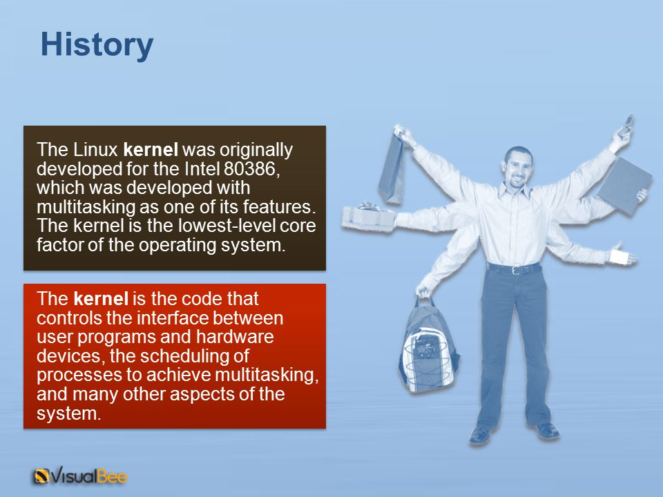 History The Linux kernel was originally developed for the Intel 80386, which was developed with multitasking as one of its features. The kernel is the