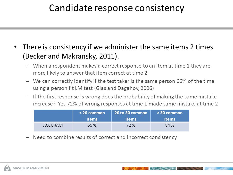 Candidate response consistency There is consistency if we administer the same items 2 times (Becker and Makransky, 2011). – When a respondent makes a