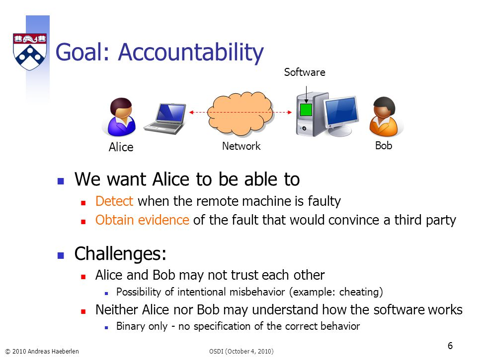© 2010 Andreas Haeberlen Goal: Accountability We want Alice to be able to Detect when the remote machine is faulty Obtain evidence of the fault that w