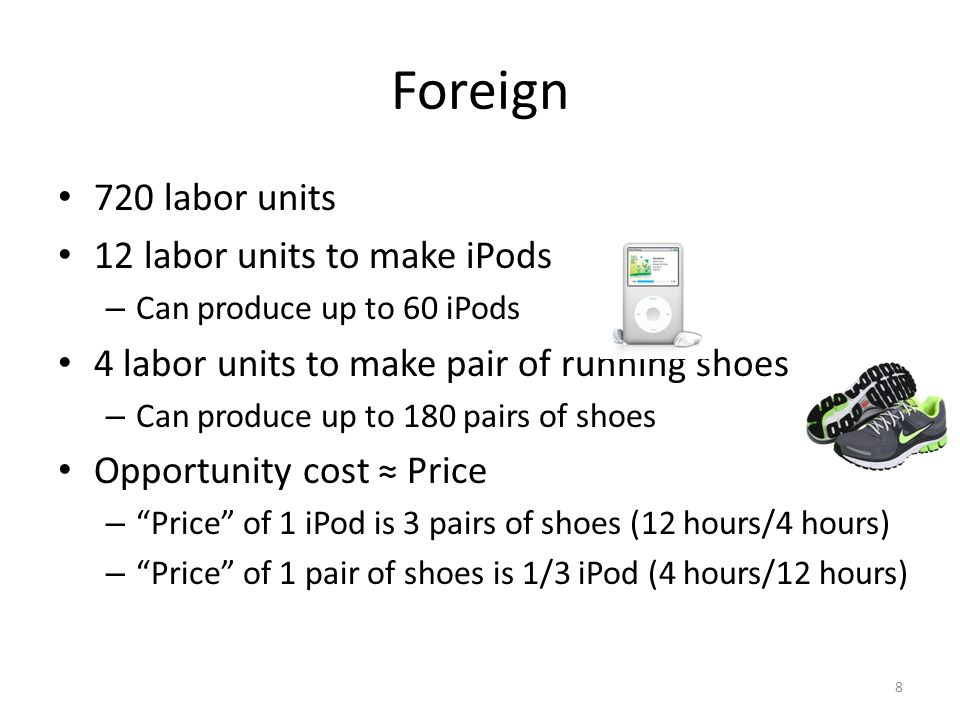 Foreign 720 labor units 12 labor units to make iPods – Can produce up to 60 iPods 4 labor units to make pair of running shoes – Can produce up to 180 pairs of shoes Opportunity cost ≈ Price – Price of 1 iPod is 3 pairs of shoes (12 hours/4 hours) – Price of 1 pair of shoes is 1/3 iPod (4 hours/12 hours) 8
