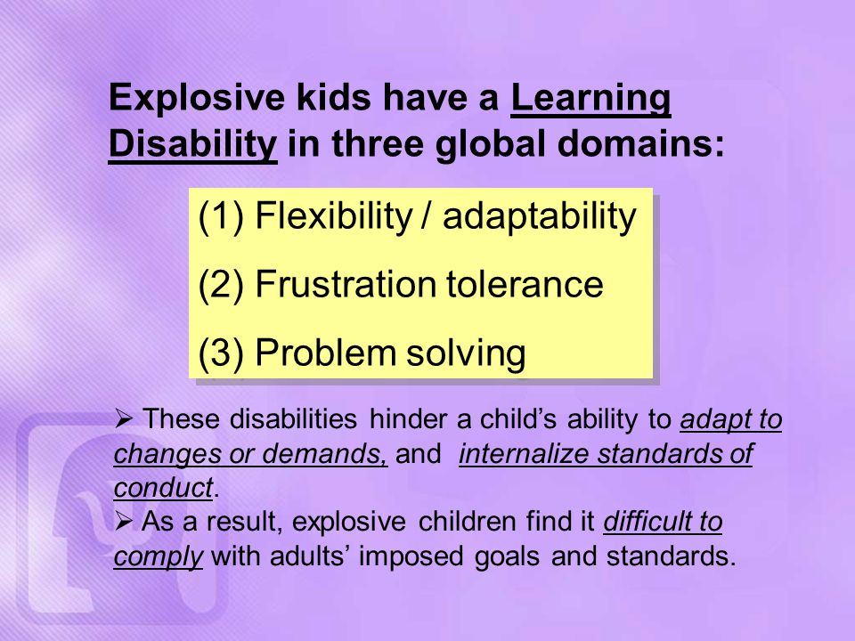 Explosive kids have a Learning Disability in three global domains: (1) Flexibility / adaptability (2) Frustration tolerance (3) Problem solving (1) Flexibility / adaptability (2) Frustration tolerance (3) Problem solving  These disabilities hinder a child's ability to adapt to changes or demands, and internalize standards of conduct.